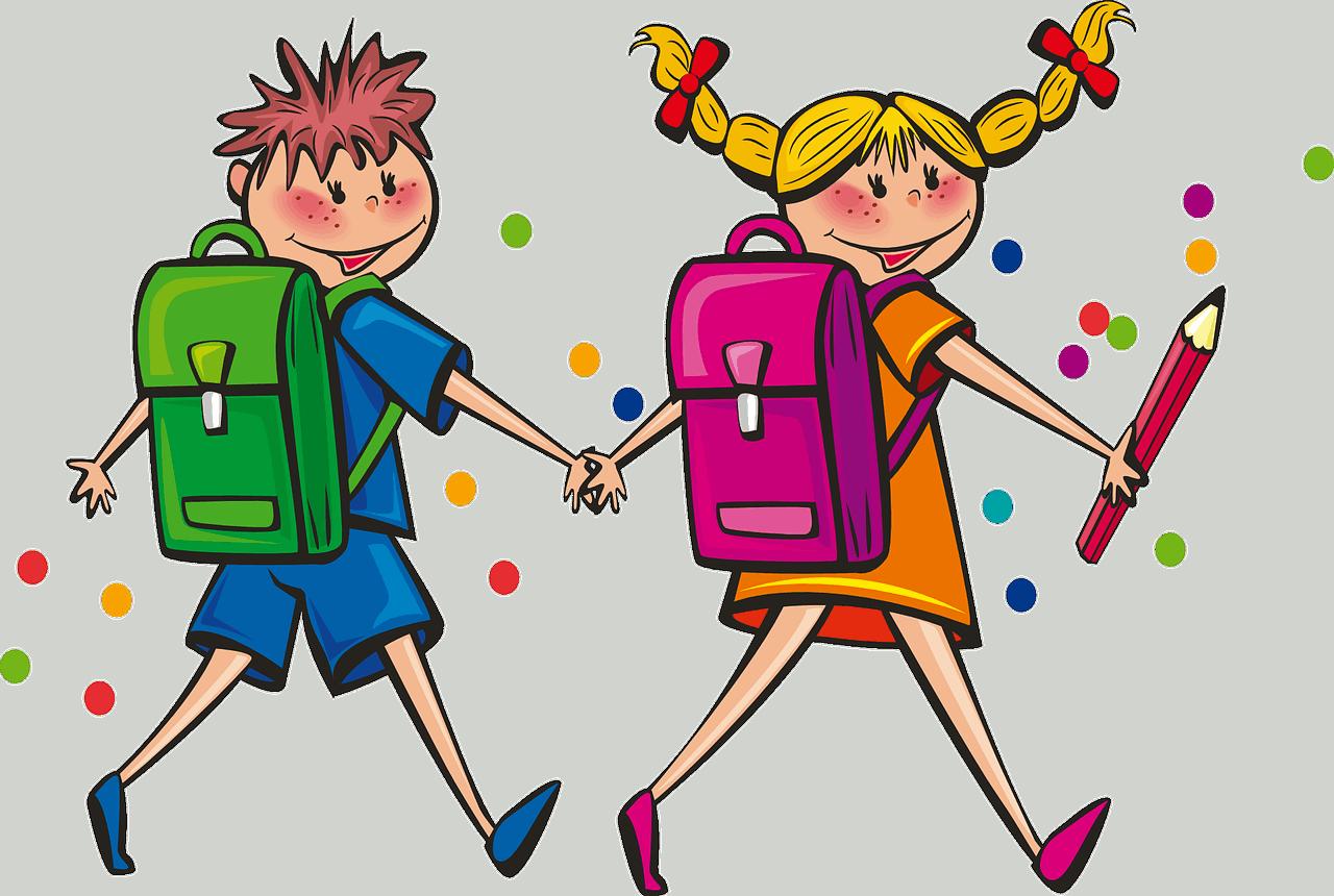 Liustración de niños caminando de la mano