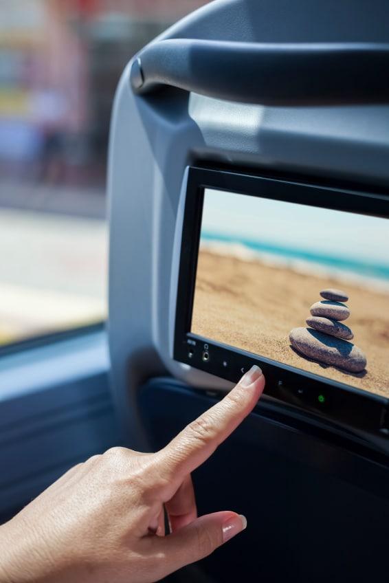 Bus, Vista de pasajero interactuando con TV