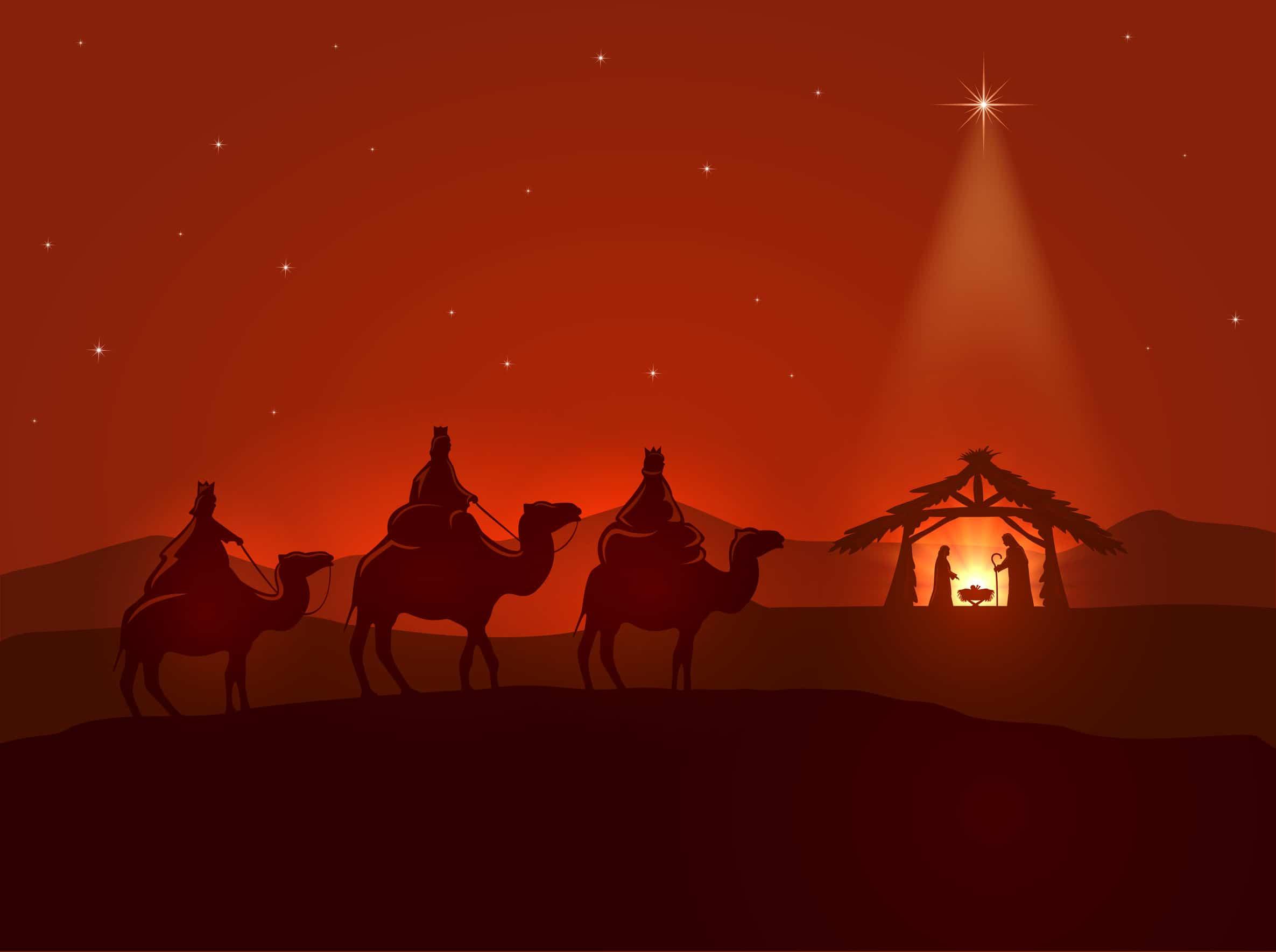 Noche de navidad cristiana, estrella brillante, reyes magos y el nacimiento de jesús, ilustración.